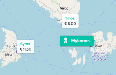 greek island ferries map showing active connections and prices