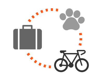 Equipaje, bicicletas, mascotas