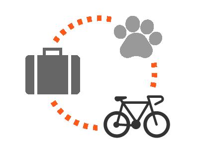 Handgepäck, Fahrräder, Haustiere