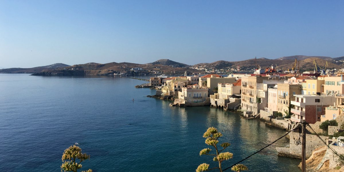 View of Magazia in Syros, sea, port, town, buildings