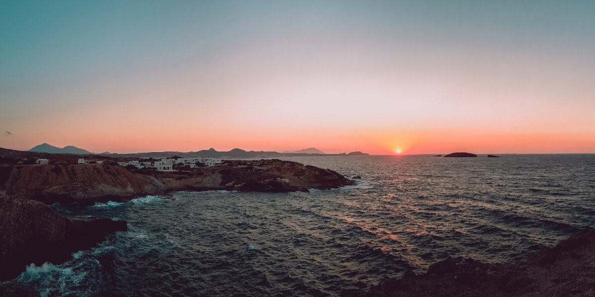 Sunset on Milos, white houses, island, Cyclades, sea, waves