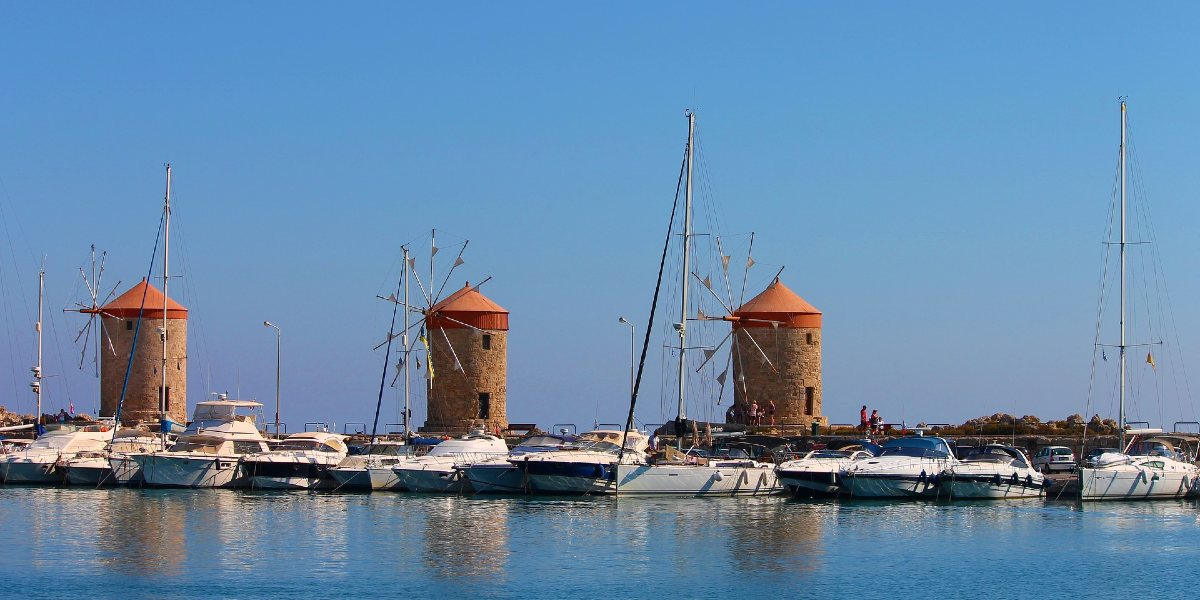 Windmills in the port of Rhodes, yachts, sailboats, Dodecanese