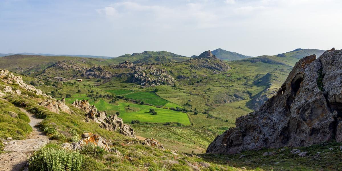 green nature, mountains, rocks, plain in Lemnos