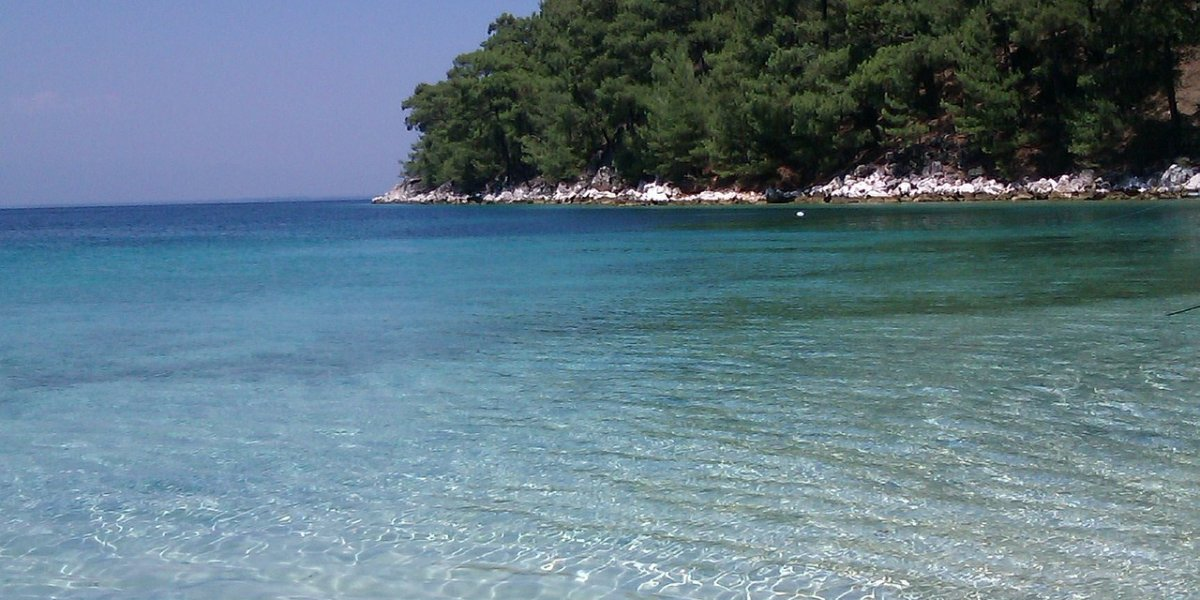 crystal clear waters in Thassos, green trees, holidays