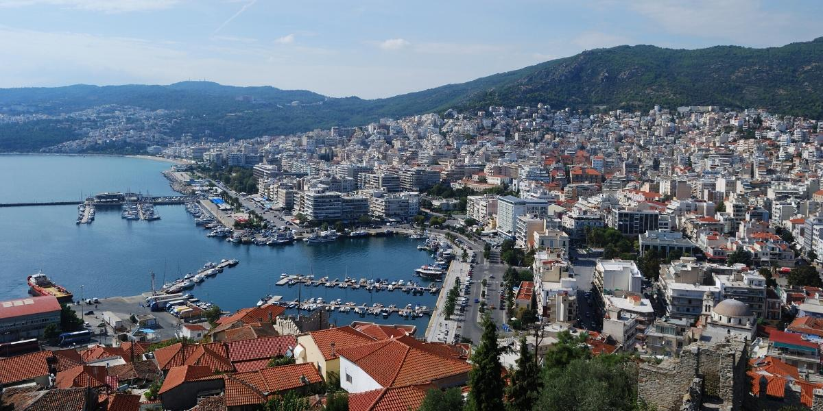 the port of Kavala, city, buildings, sea