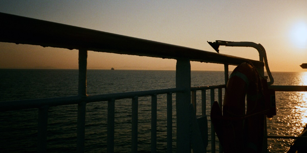 Sunset, ferry deck, colors, travel, sea, horizon