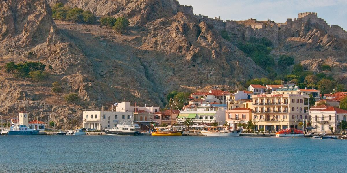 sea, port, buildings, mountain, Lemnos