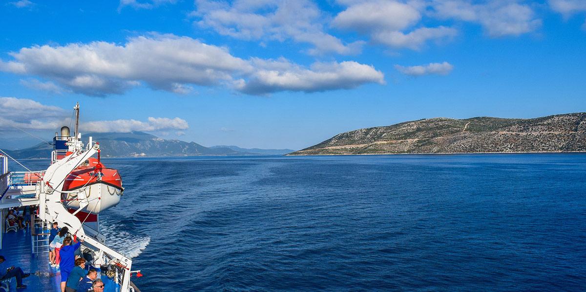 Red speedboat, blue sea, sea, ferries Lavrio - Kea