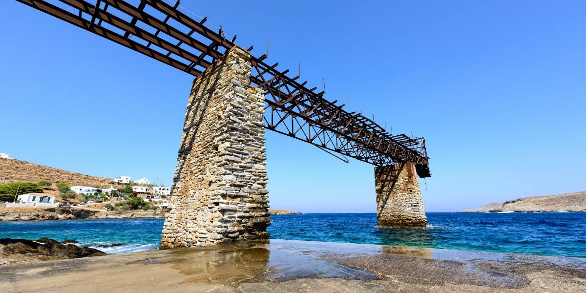 stone bridge, beach, blue waters, Kythnos