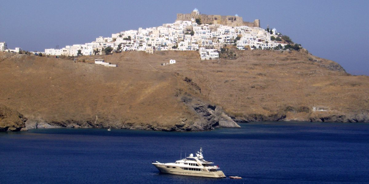 The town of Astypalea from the sea, boat, island, Dodecanese