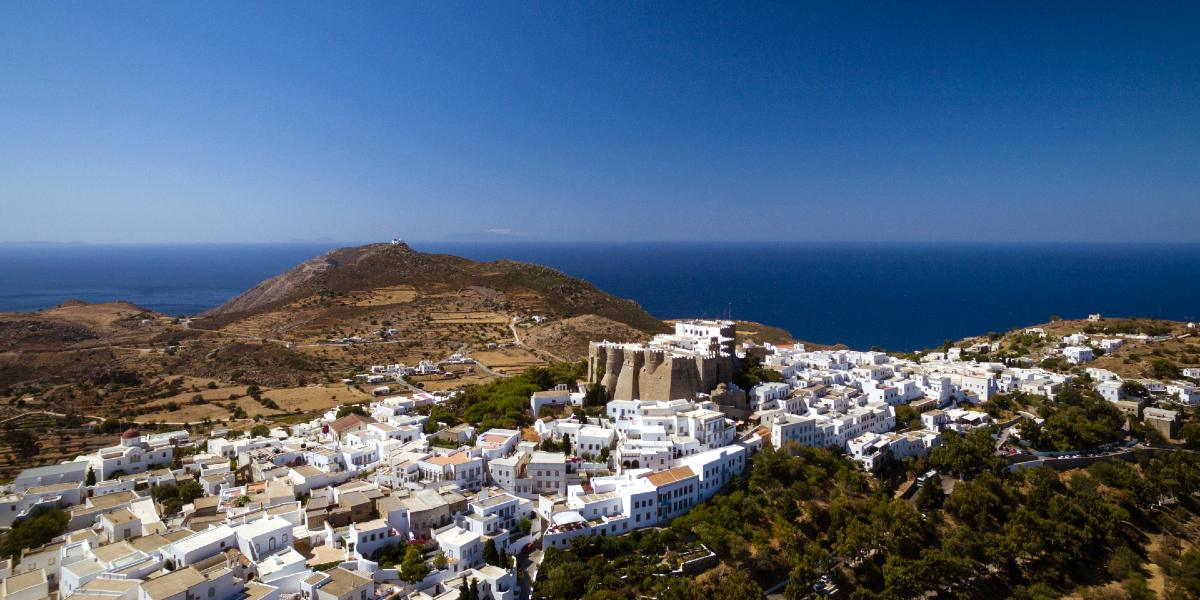 View of Patmos Town from above, castle, houses, sea, skyline, Dodecanese
