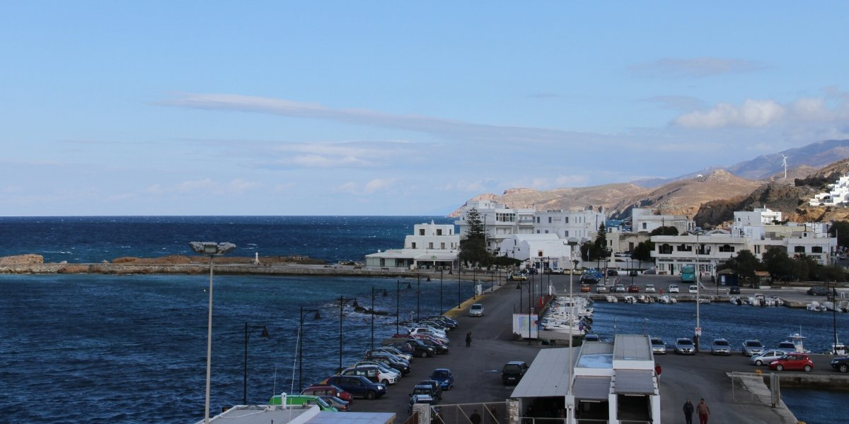 port in Paros, car, dock, sea, buildings