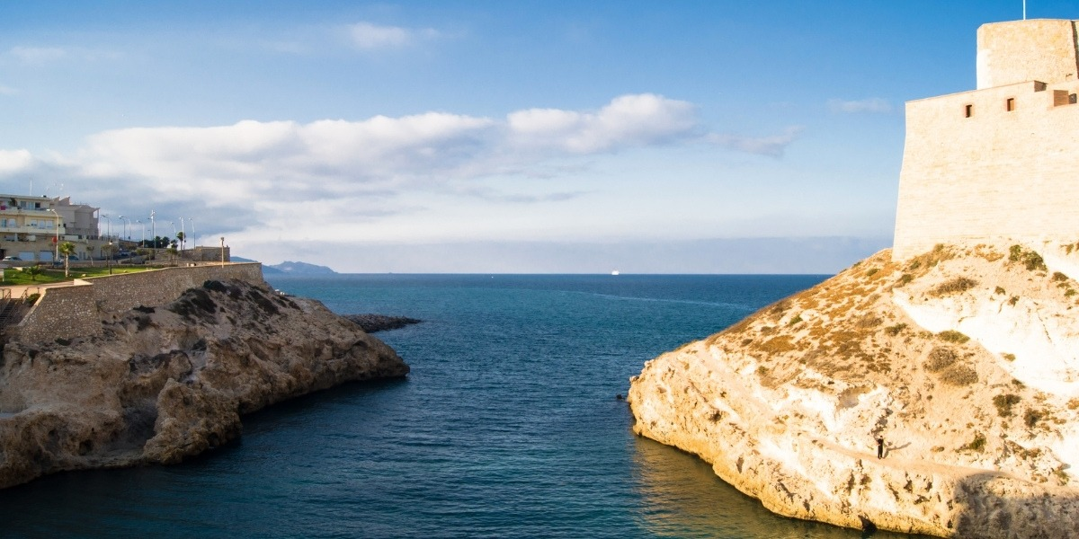 melilla, sea, rock, monument, clouds, africa, coast, fort