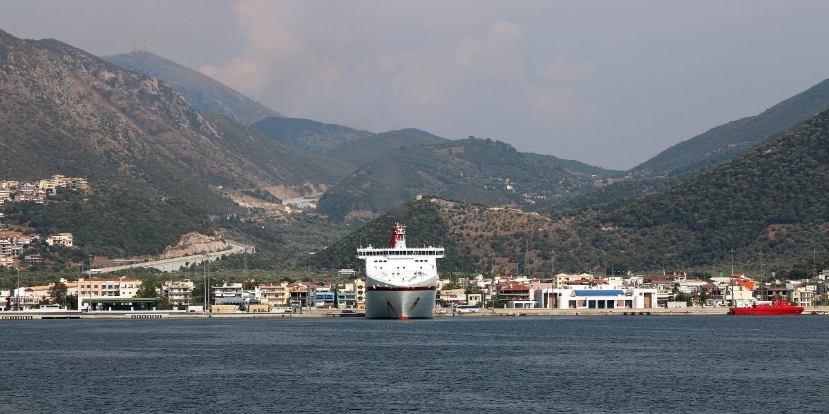 Ferries at the port of Igoumenitsa, coastal town, buildings, houses, forest, mountain, Ionian sea