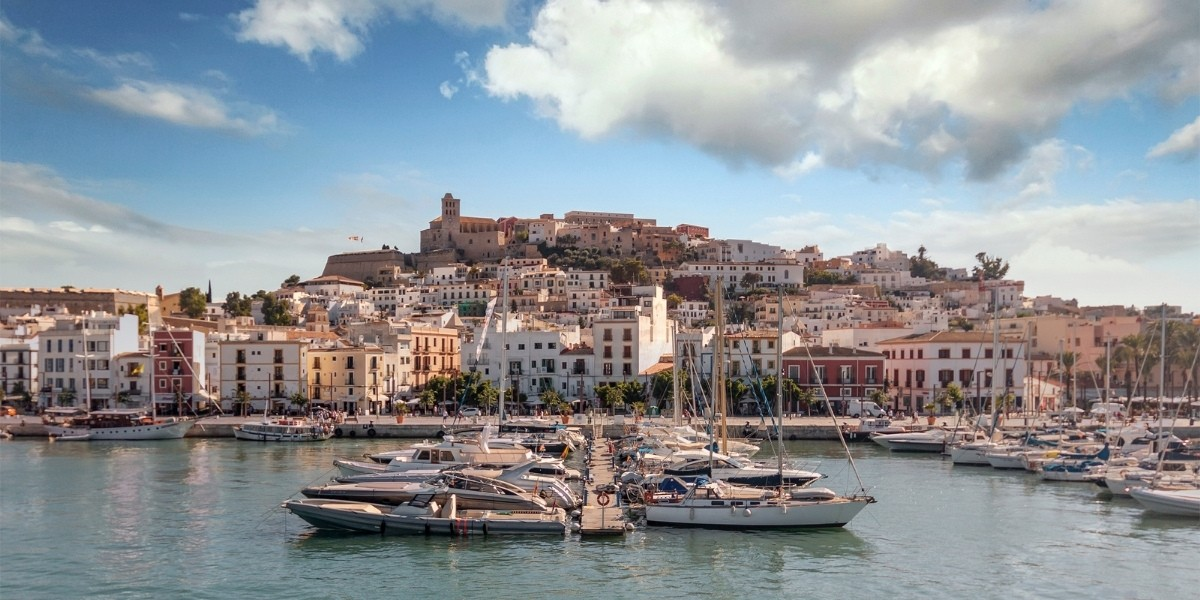 ibiza, port, boats, buildings, old town, sea, balearic islands