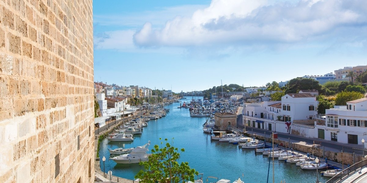 menorca, balearic islands, port of ciutadella, boats, old port, canal, spain
