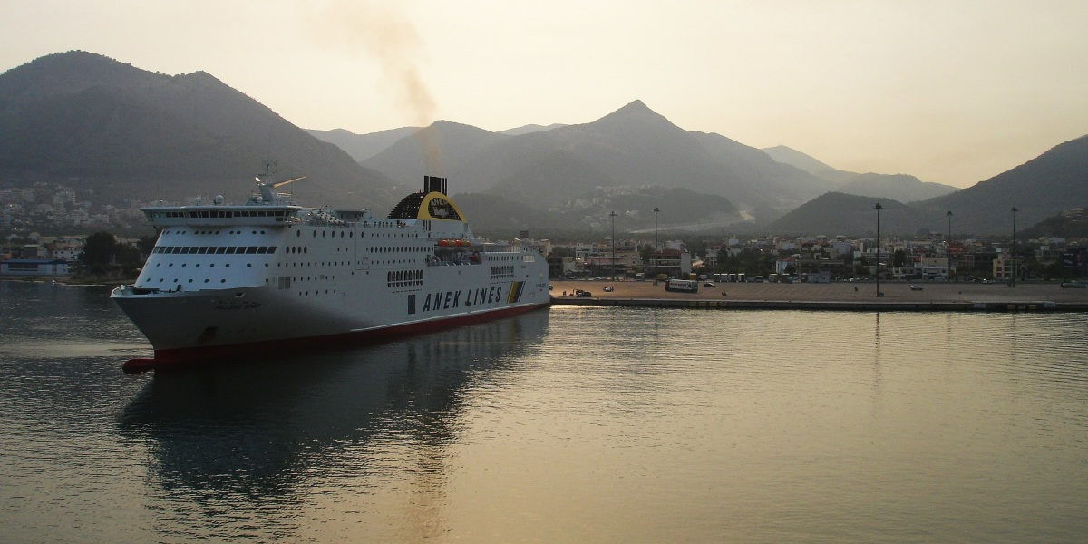 Ferry at the port of Igoumenitsa, sunset, nature, sea, ferry tickets