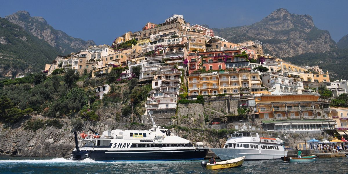 The city and the port of Positano, architecture and colors, Amalfi Coast, Ischia, ferrytickets