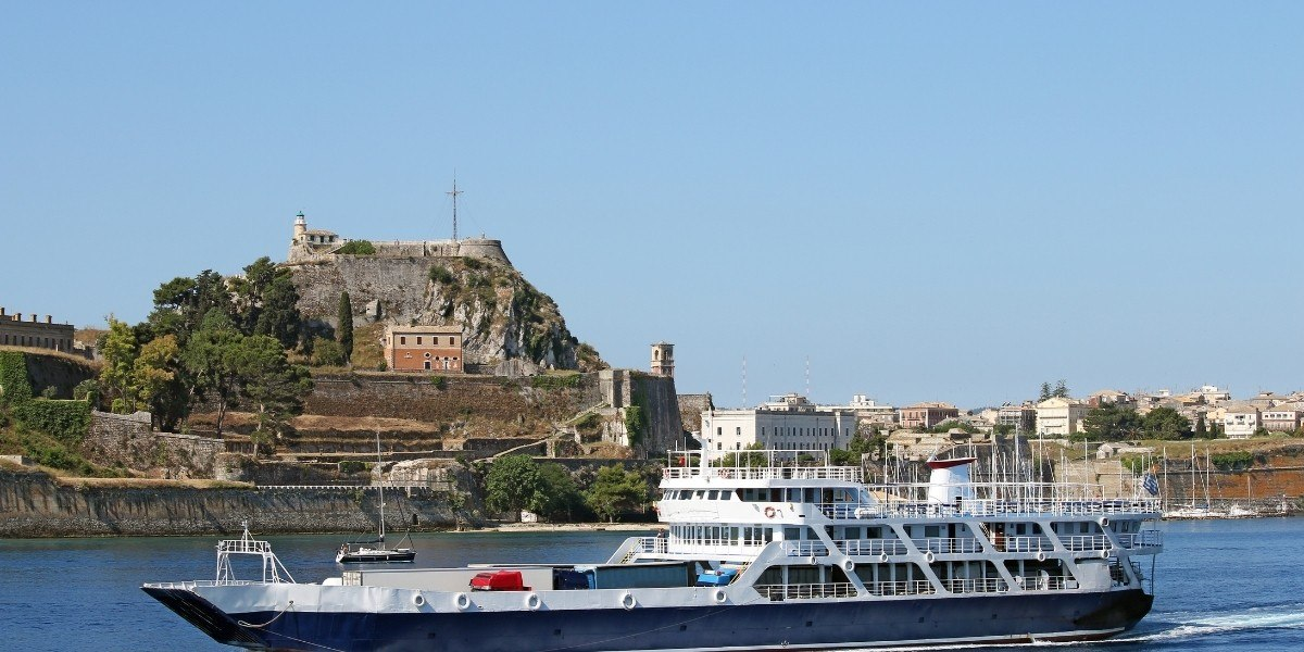 Ferry sailing from the port of Corfu Town