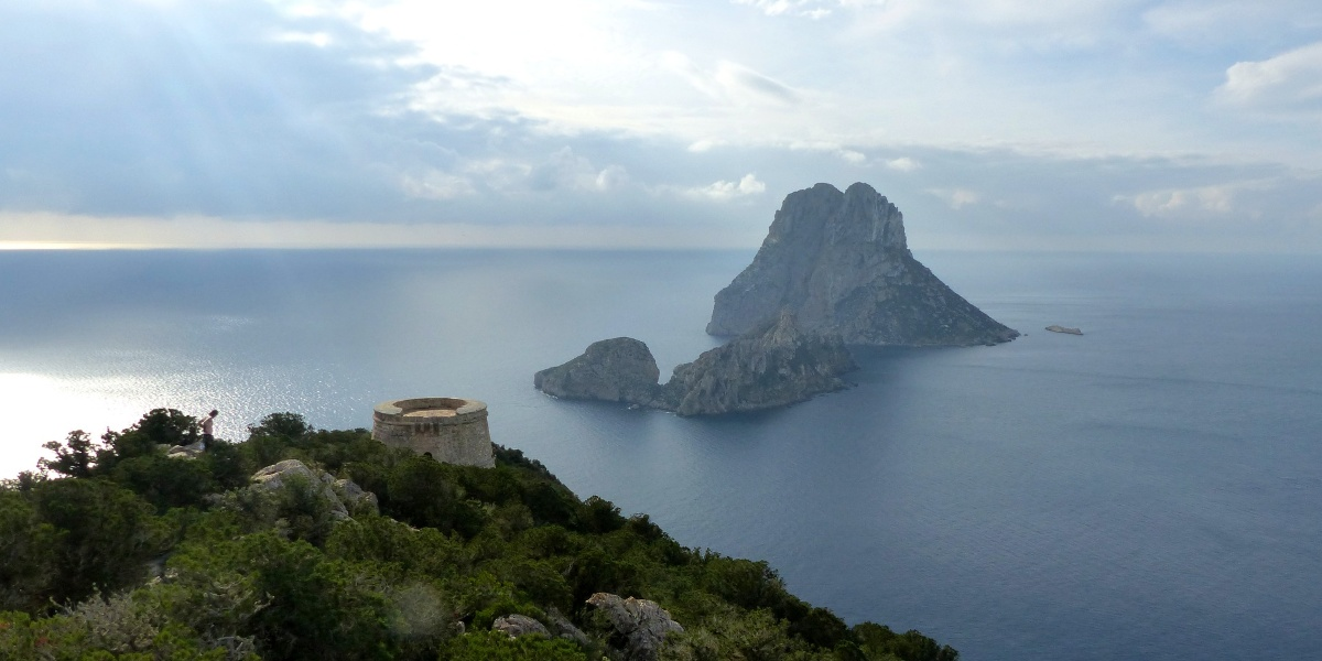 A view of the sea and the nature in Ibiza, holidays in the Balearic islands, ferry routes Spain