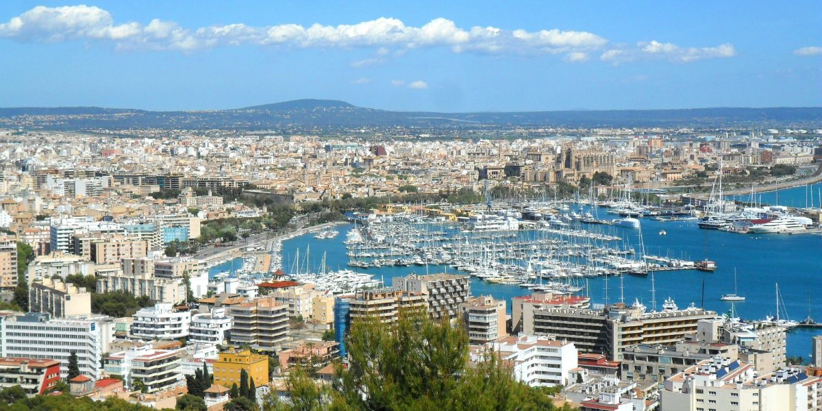 View of the port of Palma, Mallorca, buildings, streets, sailing boats, cruises, ferry routes,  holidays Balearic islands