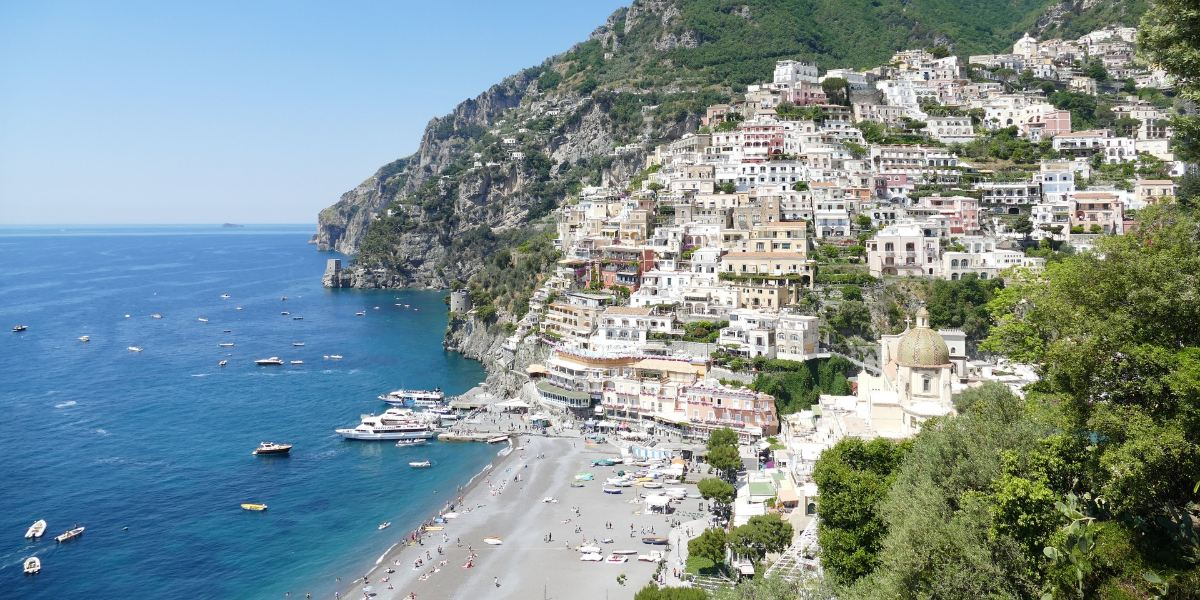 Buildings, Amalfi coast, green trees, port of Positano, Ischia, ferry tickets