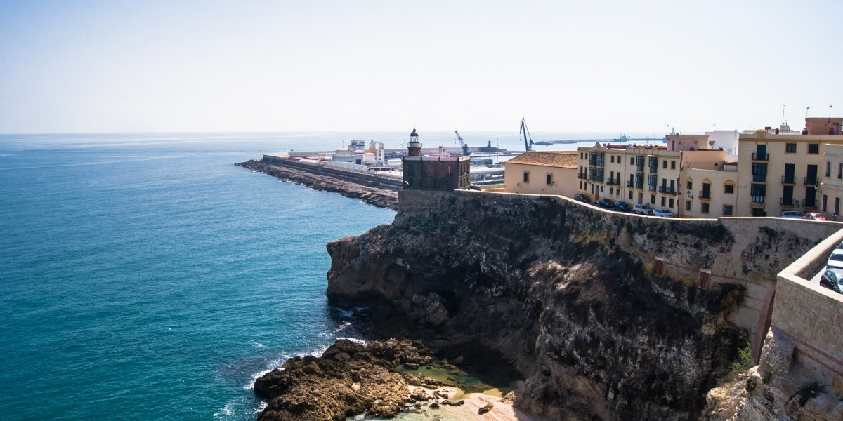 melilla beach, port of melilla, old town of melilla, ferry to melilla, mediterranean sea, north african coast, rock, buildings