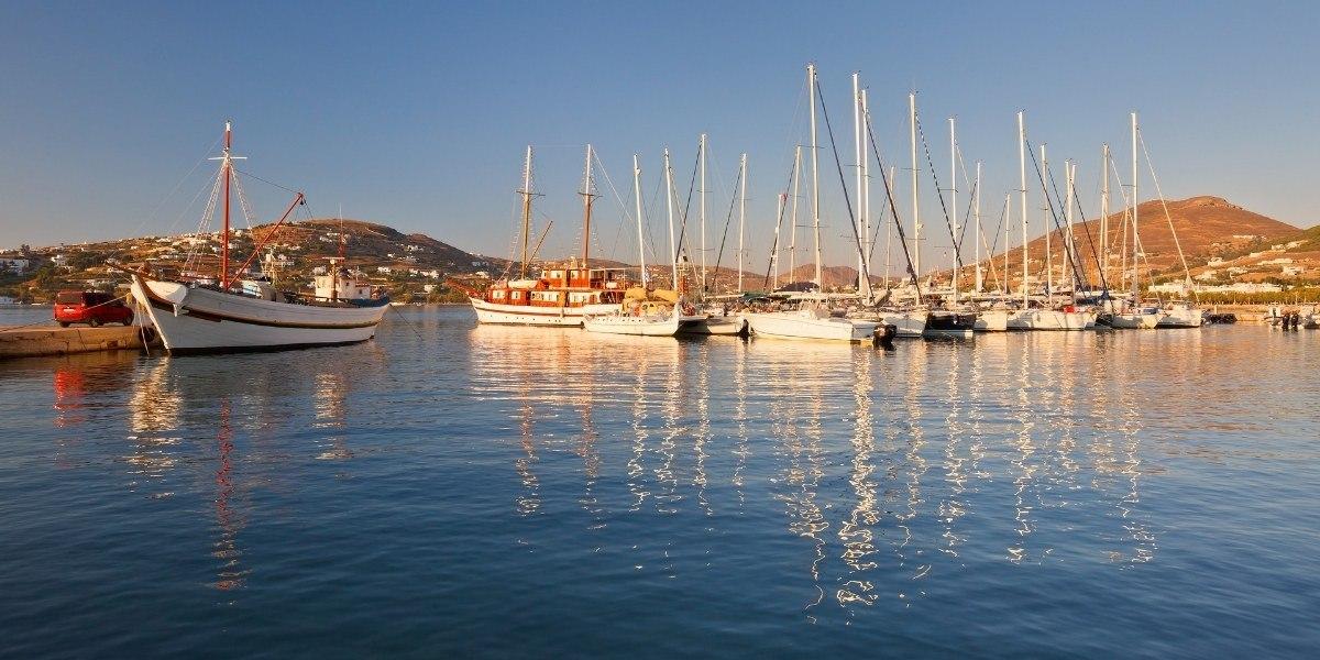 Boats at the port of Parikia in Paros