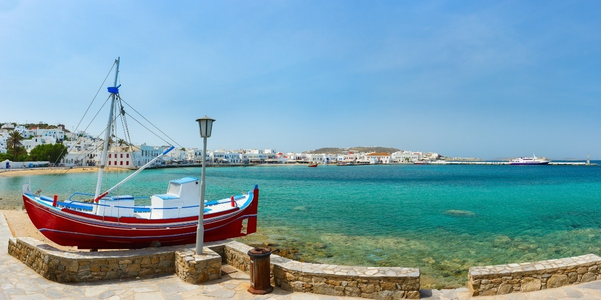 Boat at the old port of Mykonos