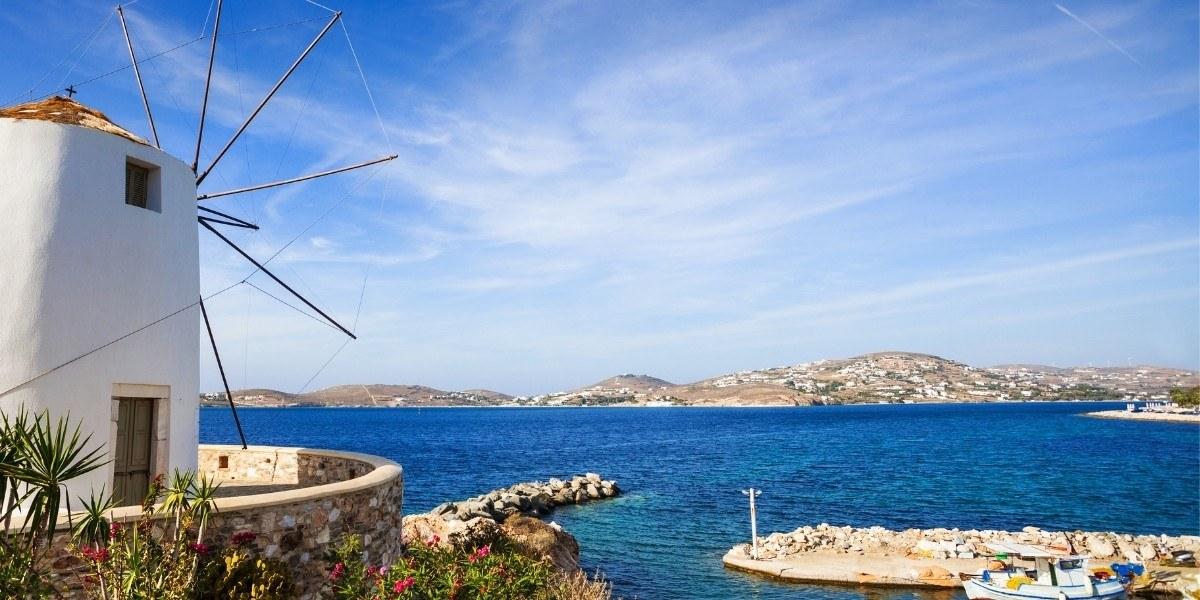 The port town of Parikia in Paros