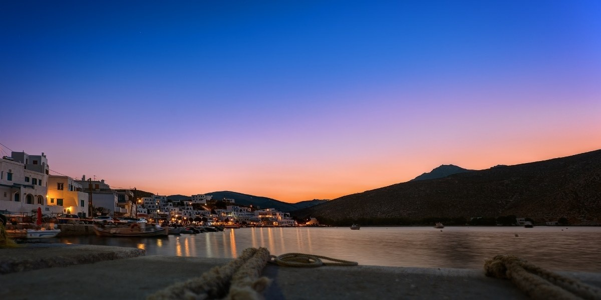 The port of Tinos in the evening