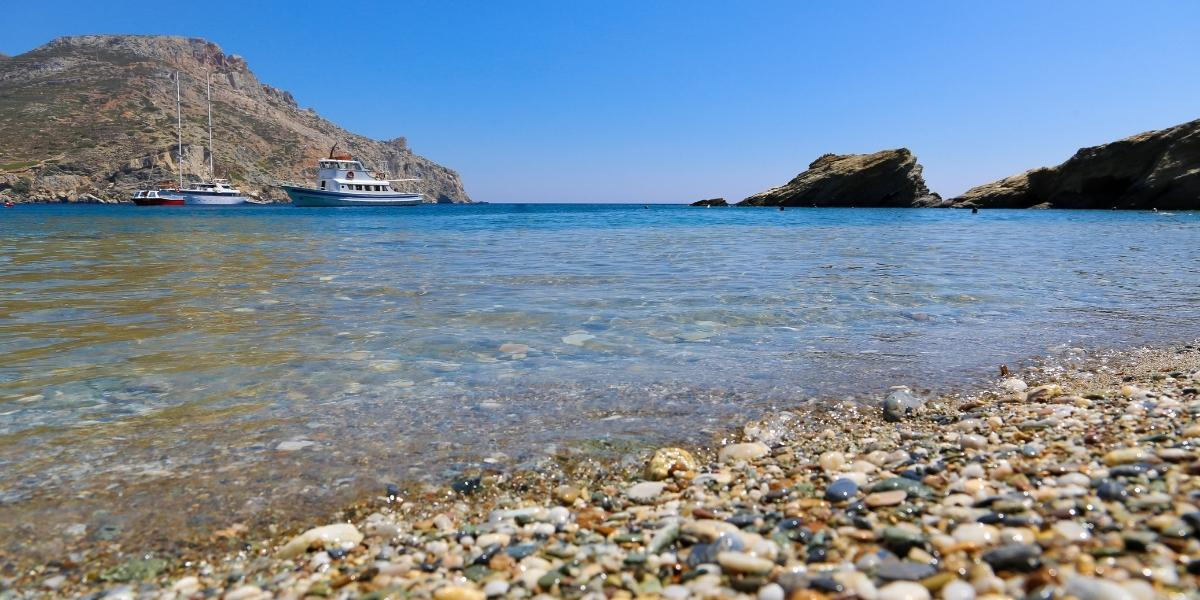 Crystal beach with pebbles in Folegandros