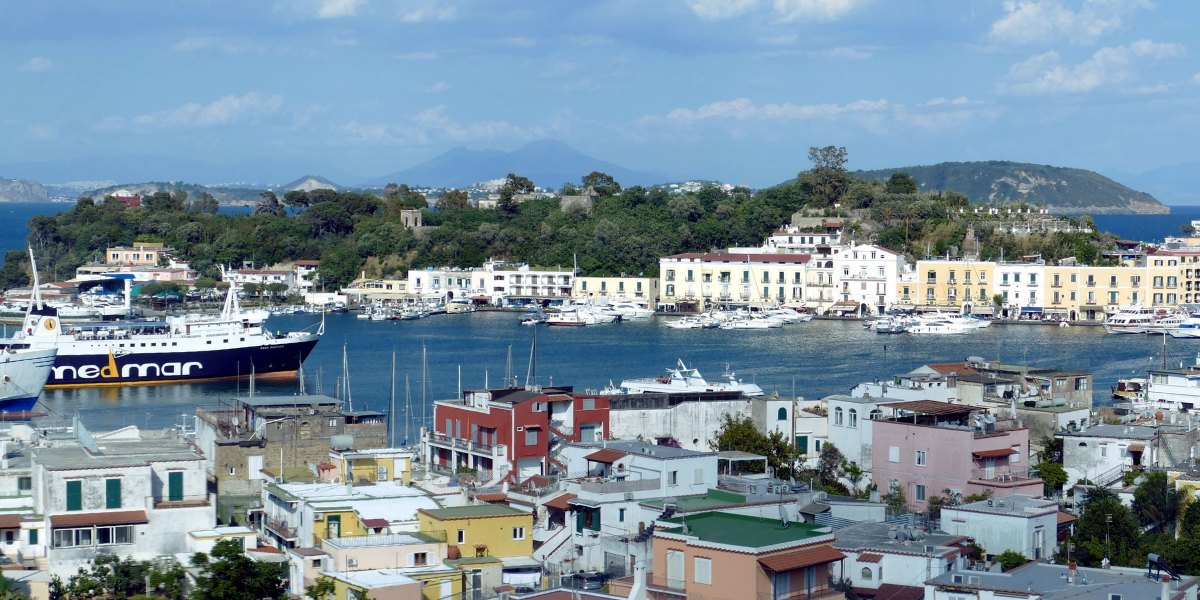 Port with ferries, island of Ischia, Sorrento, Italian vacation, ferry tickets