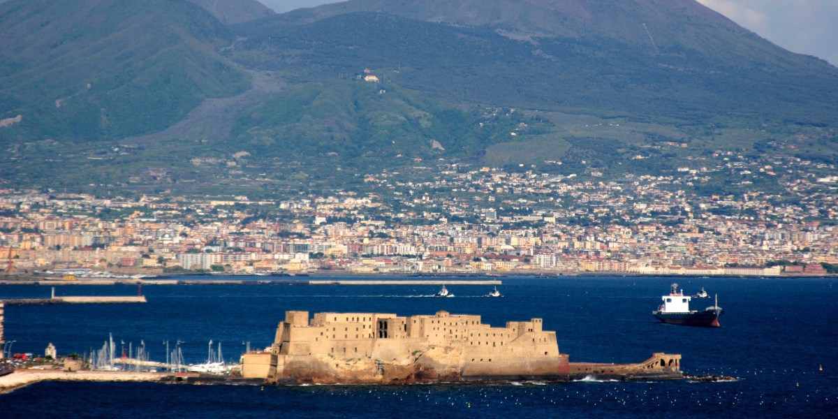 Aerial view of Naples, the volcanic island of Stromboli, holidays in Italy, ferry tickets