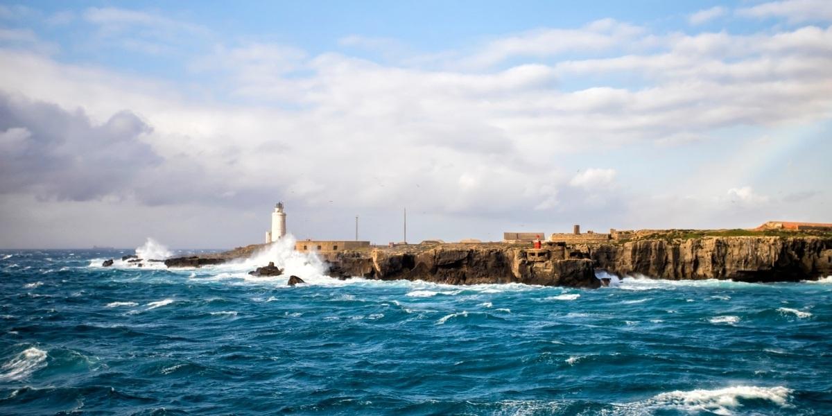 algeciras port, view from the ferry, waves, rocky coast, lighthouse, bay of algeciras, alboran sea