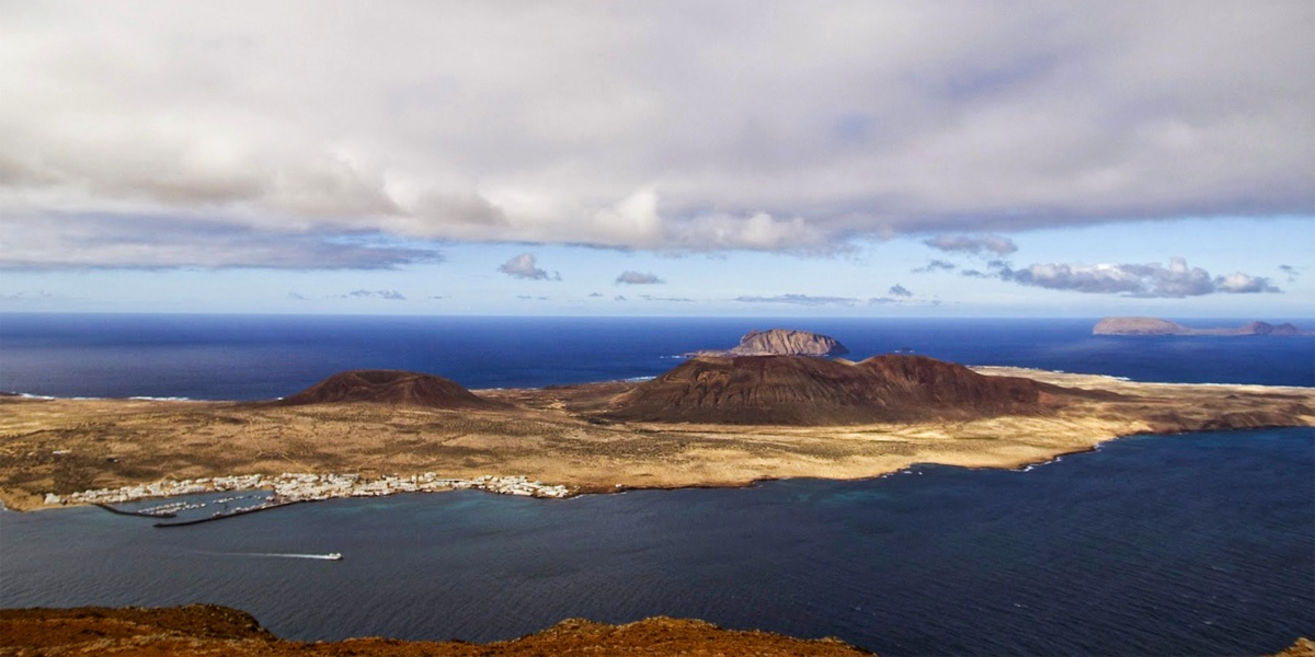 Aerial view of La Graciosa, Blue sky and sea, Lanzarote, Tenerife, Canary islands, ferry tickets