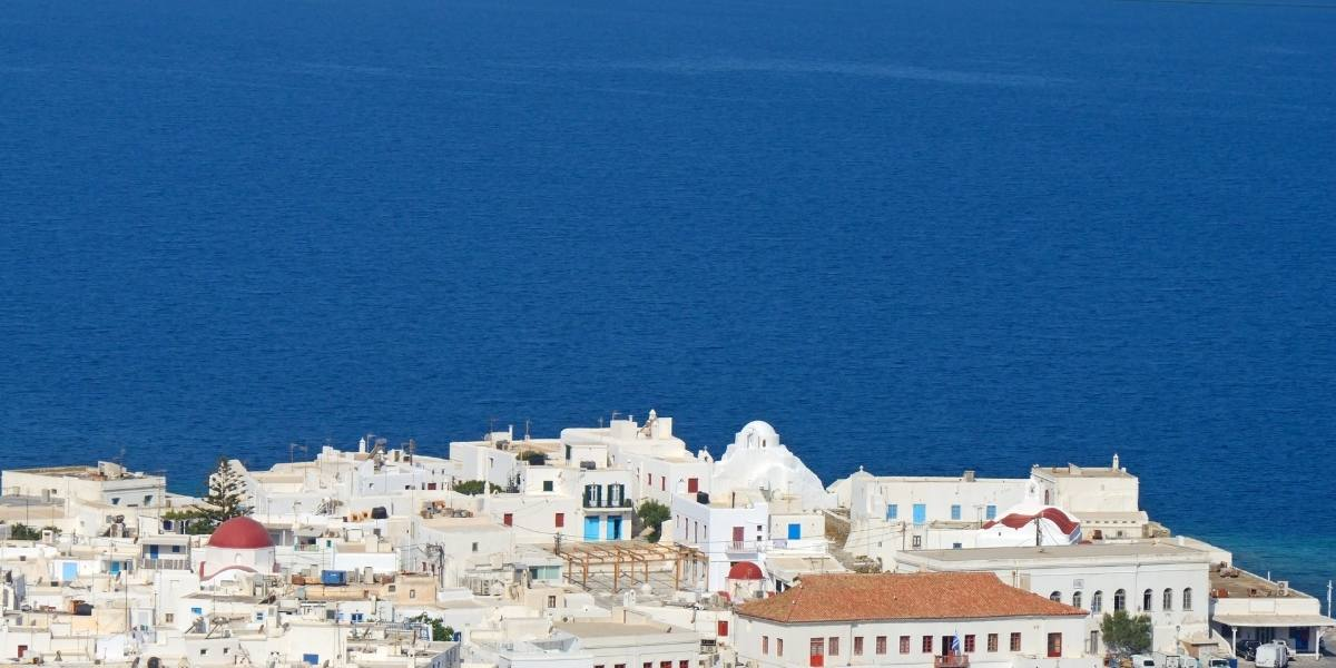 White buildings and blue sea in Mykonos