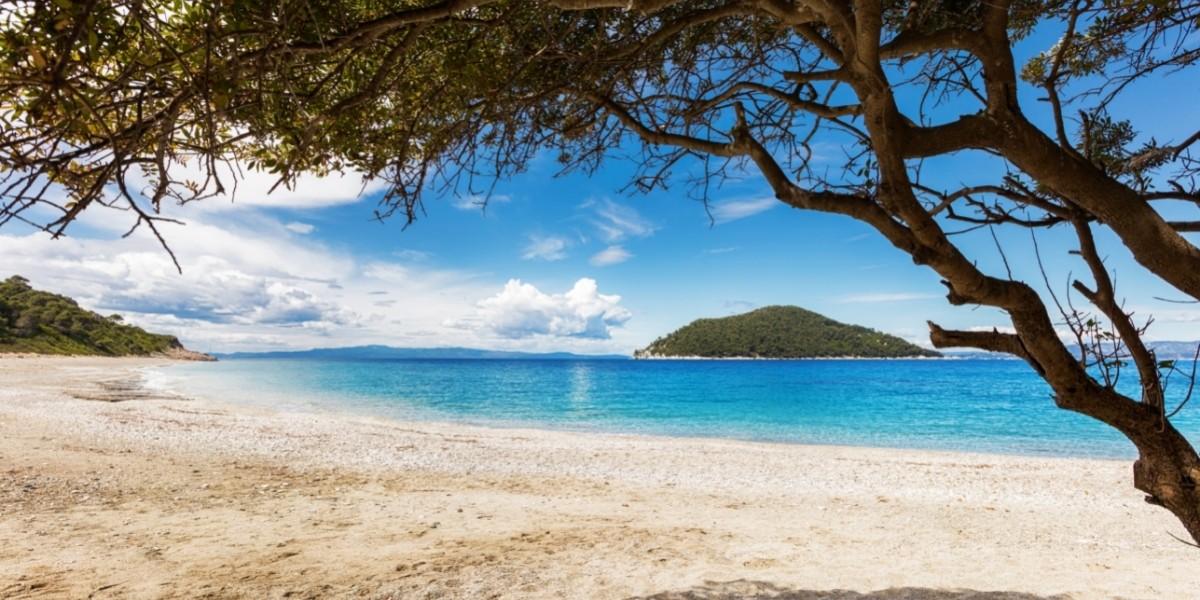 Calm sandy beach in Skopelos