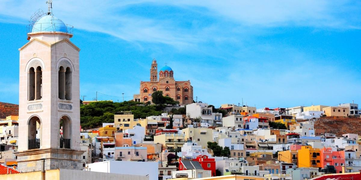 Buildings and church in Ermoupoli, Syros