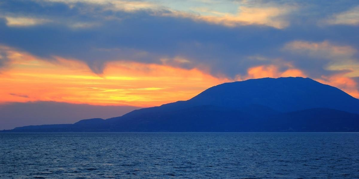 Sunset view from the port of Kyllini, Zante island, sky colours, sea, waves