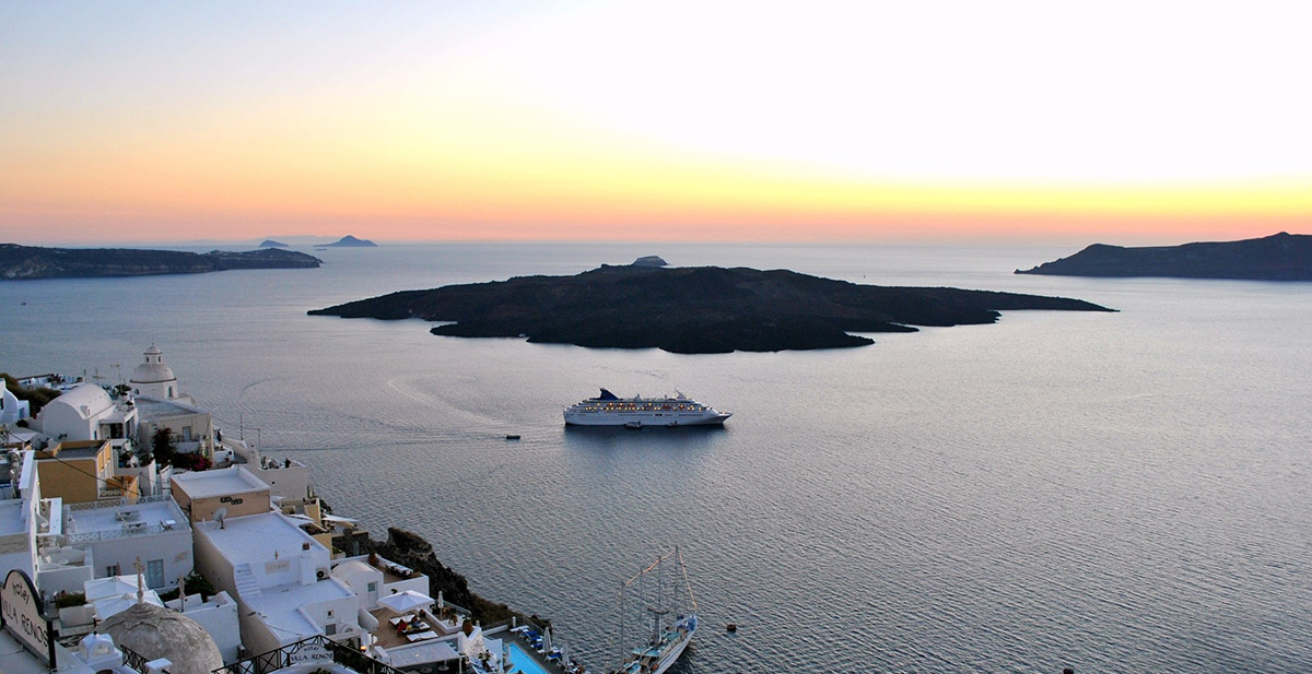 View of a ferry from Thira, Santorini