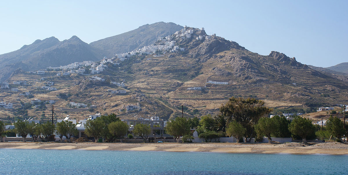 hill, Chora in Serifos, green trees, crystal clear waters, sea