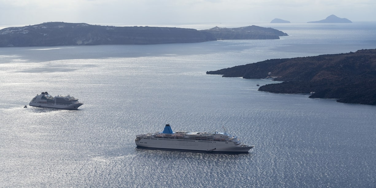 Two ferries in the Santorini Caldera
