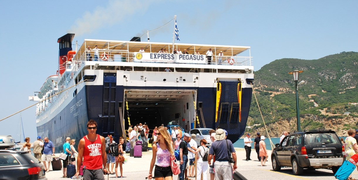 Ferry arriving at Skiathos, holidays in Sporades, ferry routes and island-hopping