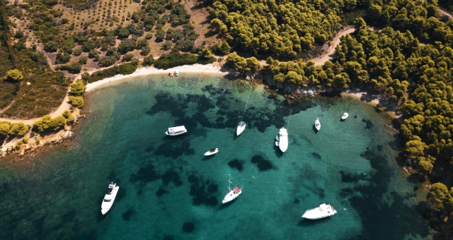 Beach in Halkidiki, close to Thessaloniki, aerial view, nature, ferry routes, holidays in northern Greece
