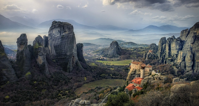 A Monastery in the rock formations of Meteora, central Greece, roadtrip from Igoumenitsa, ferry from Italy