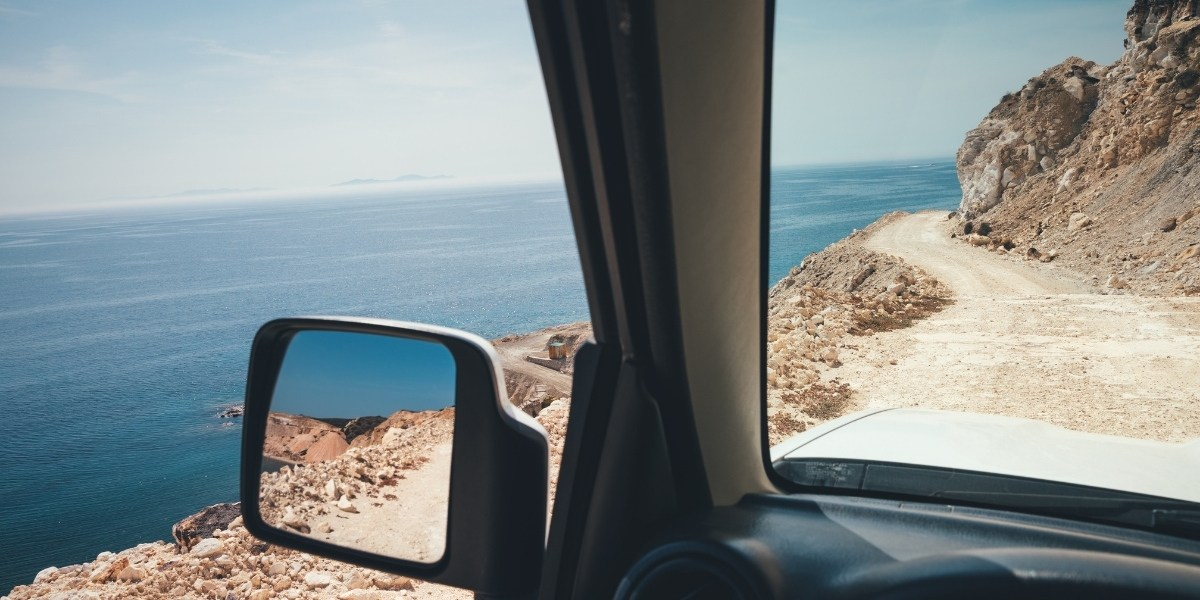 View to the sea during a road trip in Greece
