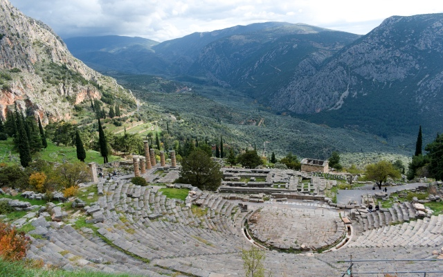 The archaeological site of Delphi, mount Parnassos, road trip in Greece, holidays, ferry from Patras or Athens