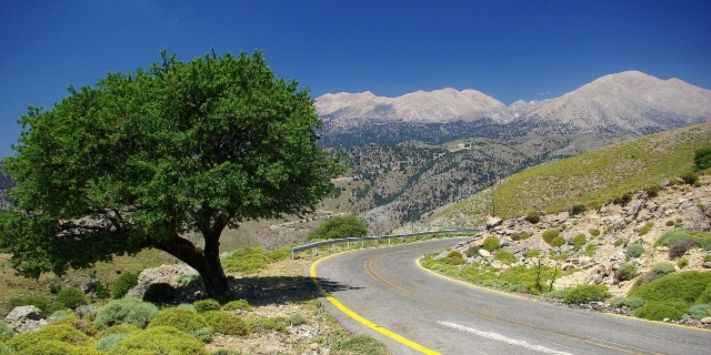 Small mountain road in Greece, nature, snow, green tree, roadtrip in the Peloponnese, Patras port, ferry from Italy