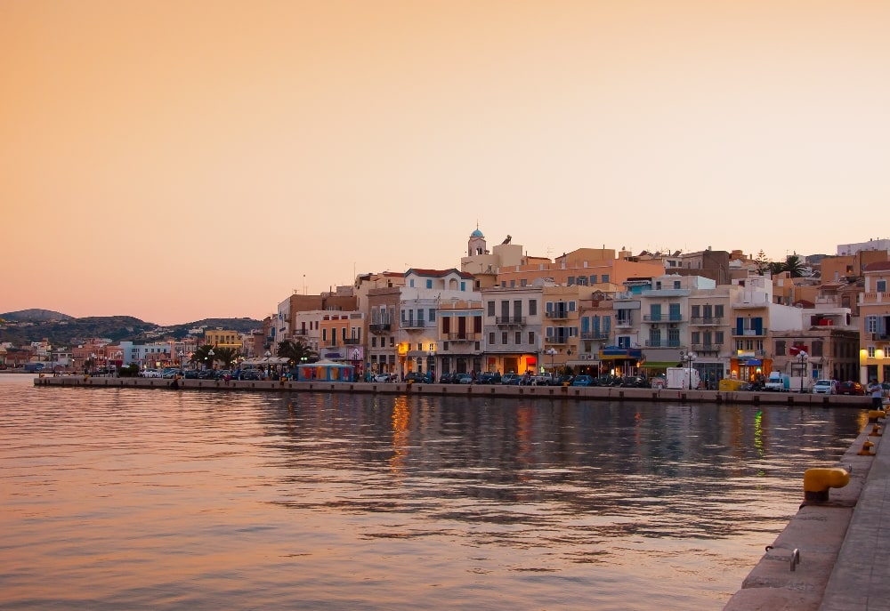 Hermoupolis-Syros Greece at sunset